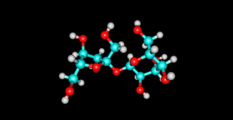 Sucrose molecular structure isolated on black