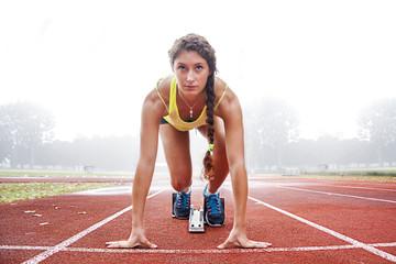 athlete on the starting blocks