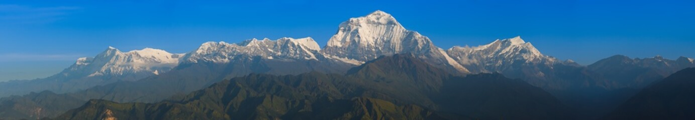 The sunshine on the mountain in the morning at poon hill, Nepal