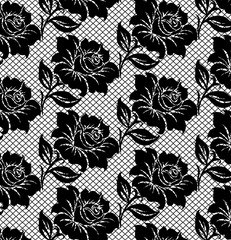 black lace pattern on white background