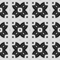 Rich decorated calligraphic outlined stroke monochrome seamless pattern. Kaleidoscopic design.
