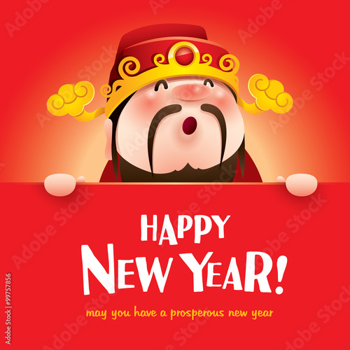 happy new year chinese god of wealth with big sign