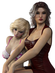 3d render of two woman.