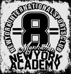 New york athletic sport training typography, t-shirt graphics, v