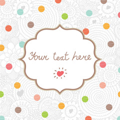 Cute postcard with flowers motifs and polka dots. Vector.
