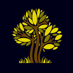 Art fantasy illustration of tree, stylized eco symbol. Graphic