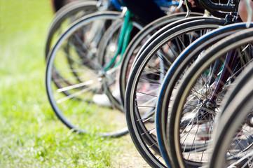 Bicycle wheels before start