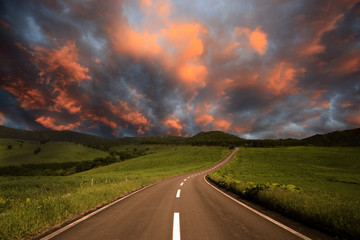Wall Mural - road to burning clouds.