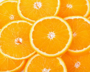 Sliced Orange fruit on white background