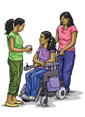 Teenage girl in wheelchair with family