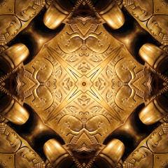 Golden ornament - kaleidoscopic wallpaper tiles