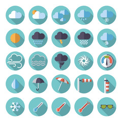 Weather flat design icon set. Collection of weather and climate related flat design vector icons