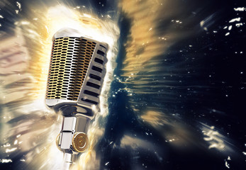 Retro style microphone with a glowing lights