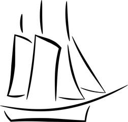 Skizze eines Segelschiffs