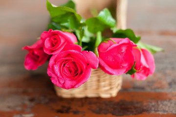 Pink roses in the mini basket for valentine day