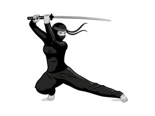 Female ninja with a katana sword