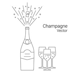 Vector bottle of champagne explosion and glasses, thin line style.