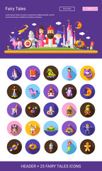 Fairy tales flat design cartoon characters icons set with header