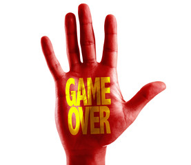Game Over written on hand isolated on white background