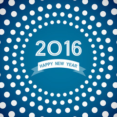 ribbon happy new year 2016 with polka dot pattern on blue background (vector)