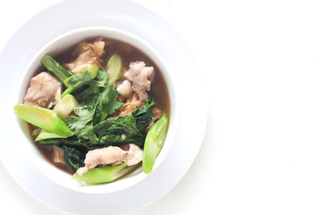 Fried noodle with pork and chinese broccoli