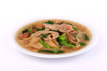 "The Best Thai Dishes, Wide Rice Noodles Pork in Thick Gravy, Thai Noodles Topped with Pork: Chinese and Thai Style food called ""Rad Na"""