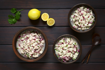 Chilean Ceviche made of Southern Ray's bream fish (lat. Brama Australis, Spanish Reineta), onion, garlic and cilantro marinated in lemon juice