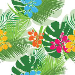 Seamless pattern palm trees