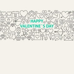 Happy Valentine's Day Line Art Icons Seamless Web Banner