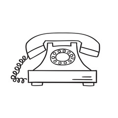 Retro phone hand drawn, vector illustration.
