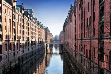 channel and bridges at Hamburg, Germany