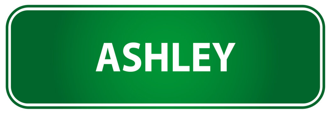 Popular girl name Ashley on a green US traffic sign