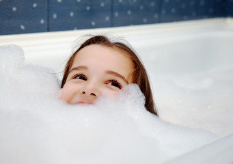 little girl in bath