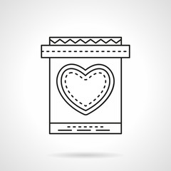 Invitation card with heart flat line vector icon