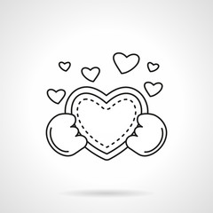 Cute heart with hands flat line vector icon
