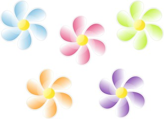Colored vector flowers