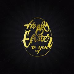 Happy easter - typographic calligraphic lettering golden effect