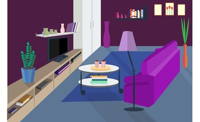 Living room. Comfortable hall. Vector home interior in flat style. Sofa and lamp, TV shelf and coffee table, picture and vase