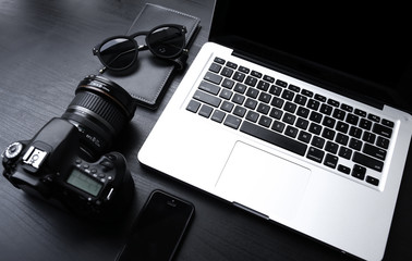 Laptop desk with minimalist setup