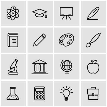 Vector line education icon set. Education Icon Object, Education Icon Picture, Education Icon Image - stock vector