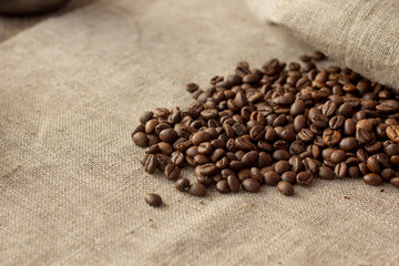 Coffee beans on linen cloth