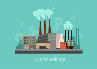 Industryal background - industry factory. Flat style vector illustration.