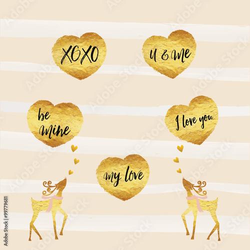 Valentine, Happy Valentine's day cards gold foil texture