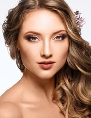 Portrait of Beautiful Woman Wedding Model on White Background