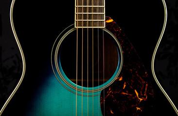 Half of a guitar on black
