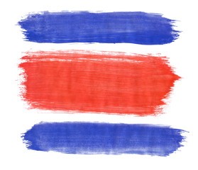 Flag Of Costa Rica painted with gouache