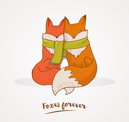 Fox, cute, lovely illustration and greetin card, Valentines day