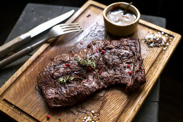 Beef steak. Piece of Grilled BBQ beef marinated in spices - Stoc