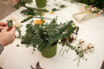 Creating a wonderful composition cotton, cones, fir, magical variety carnations and delicious varieties of roses. Handmade