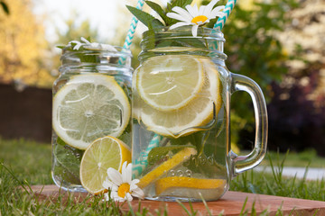 Drinks ready for the outdoor mojito party. Jars decorated with fresh mint and chamomile flowers.
